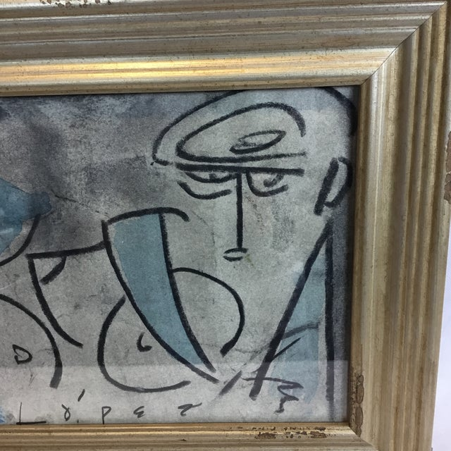 Lucian Lopez C. 1960-70 artist study/ sketch, gouache, pastel and charcoal on paper, presented in an custom contemporary...