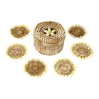 Vintage Puka Shell and Woven Grass Coasters With Storage Box - Set of 7 For Sale