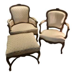 Antique French Bergere With Ottoman and Arm Chair - 3 Pieces For Sale