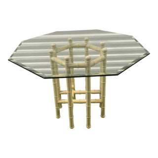 Glass Top Faux-Bamboo Dining Table For Sale