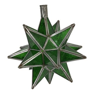 Green Moroccan Moravian Star Light For Sale
