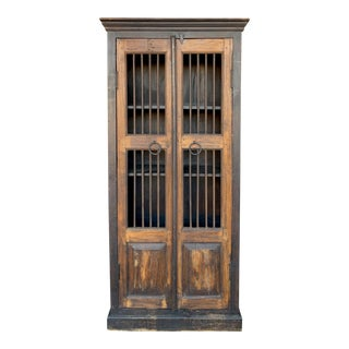 1940s Vintage Cast Iron Indonesian Wall Cabinet For Sale