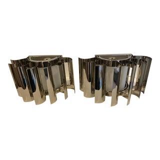 20th Century Sciolari Style Modern Silver Sconces - a Pair Last Markdown For Sale