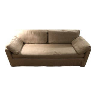 Restoration Hardware Belgian Linen Upholstered Sofa For Sale