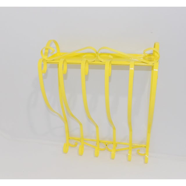 Antique Electric Yellow Wrought Iron Patio Shelf For Sale - Image 11 of 11