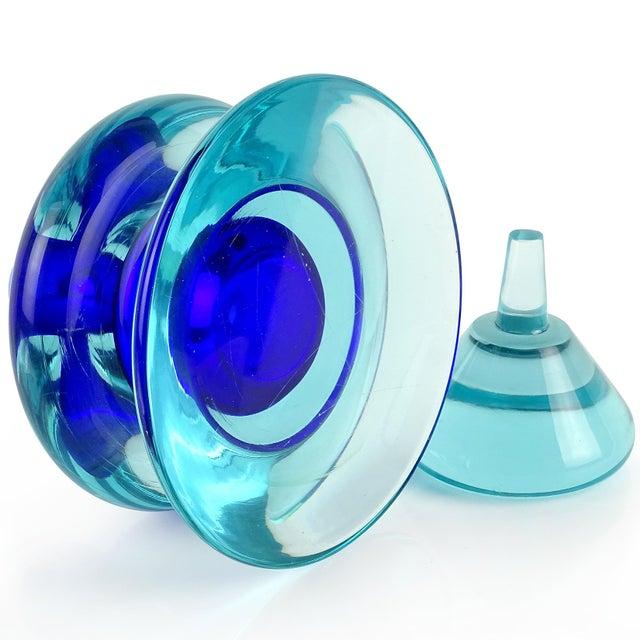 Murano Vintage Seguso Vetri d'Arte Murano Sommerso Cobalt Blue Italian Art Glass Perfume Bottle For Sale - Image 4 of 7