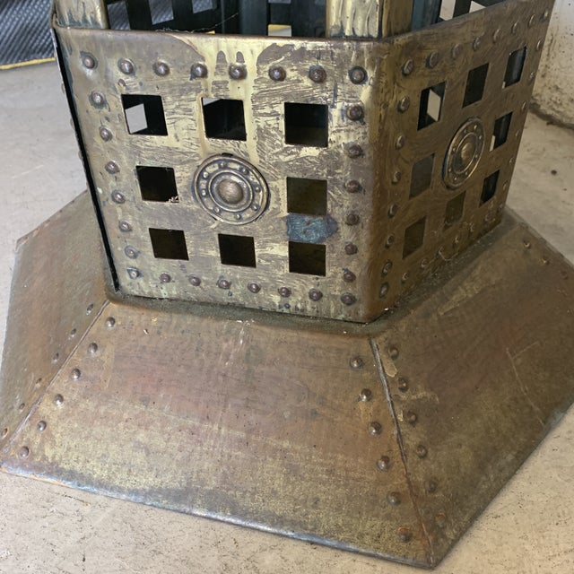 Unusual Medieval Standing Brass Planter or Bar For Sale - Image 10 of 13