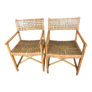Woven McGuire Style Rawhide Rattan Arm Chairs - a Pair For Sale