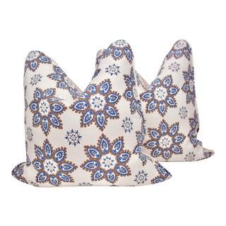 "Casa ""Jaipur Flower"" 22"" Square Hand Blocked Pillows - a Pair For Sale"