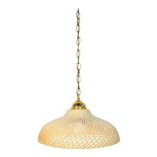 Mid-Century Modern Cream Ceramic and Brass Pendant Lamp For Sale