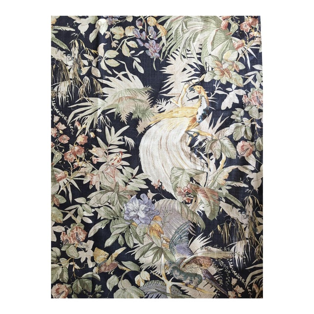 "Moving Sale - Make an Offer - Everything Must Go - Ralph Lauren Handscreened Linen ""Coleridge"" in Black - 3.5 Yards For Sale"