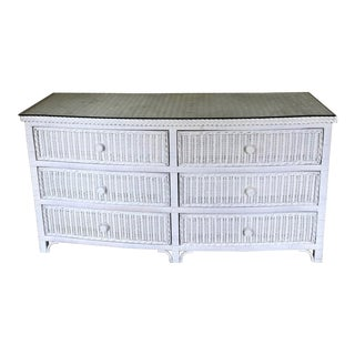 Mid Century Six Drawer Curved Wicker Chest With Fitted Glasstop, Henry Link Style For Sale
