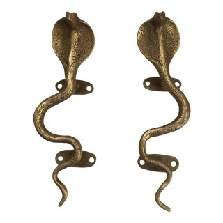 Gold Brass Cobra Door Handles, Cabinet Pulls, Snake Hardware - a Pair For Sale