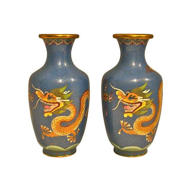 Blue Cloisonne Dragon Vases - A Pair - Image 1 of 5