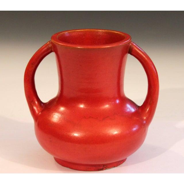 "Vintage Awaji Pottery vase in chromium orange/red crystalline glaze, circa 1930. Measures: 6"" high, 6"" diameter. Impressed..."