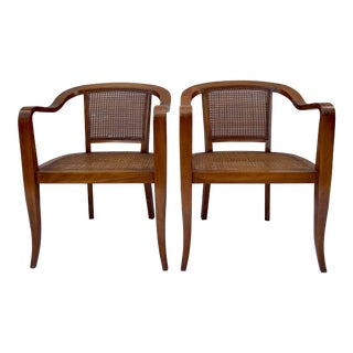 Mid Century Modern Lounge Walnut Arm Chairs With Cane Seat & Back - a Pair For Sale