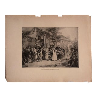 "Antique Great Men and Famous Women Print, ""Chaucer and the Canterbury Pilgrims"" Selmar Hess Publishers 1894 For Sale"