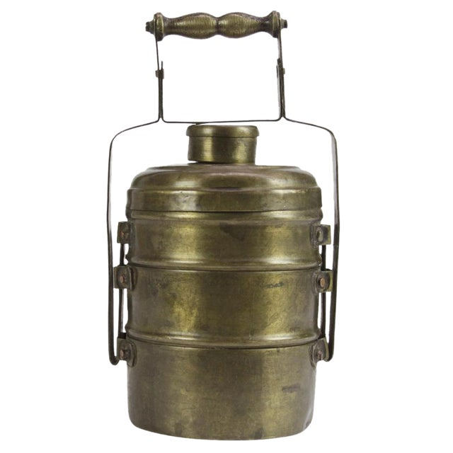 Three Tier Brass Lunch Box For Sale