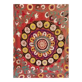 Vintage Turkish Suzani Textile - 75ʺW × 86ʺD For Sale