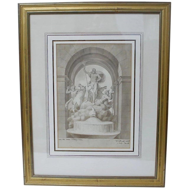 1838 Palazzo Torlonia, Rome Grisaille Neptune Fountain Watercolor Painting For Sale