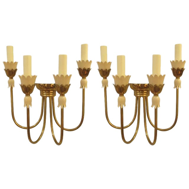 Pair of Mid-Century Italian Brass Sconces with Four Arms For Sale
