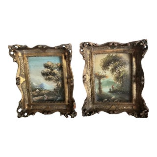 Pretty Pair of Small Antique Landscape Paintings For Sale