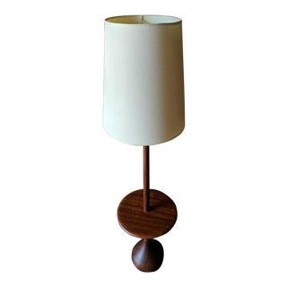 Mid Century Solid Teak Danish Modern Floor Lamp With Built in Table