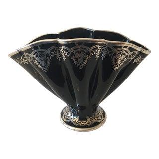 1930s Art Deco Black Porcelain and Sterling Silver Vase For Sale