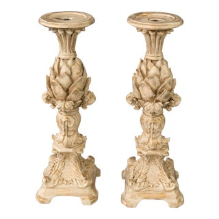 Tall Italian Gilt Artichoke Candle Holders Mantel Ornaments, a Pair For Sale