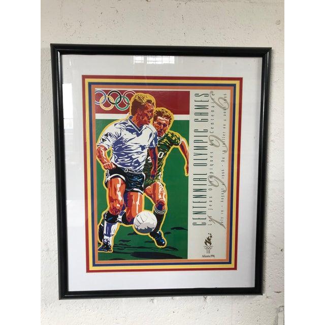Contemporary 1990s Vintage Original Atlanta Summer Olympics Framed Soccer Poster For Sale - Image 3 of 10