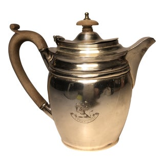 English Silver Tea Pot With Wood Handle For Sale