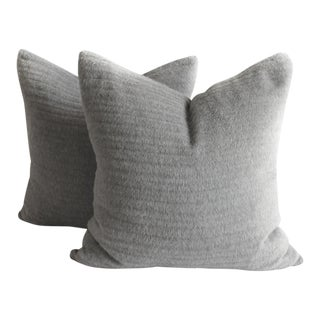 Pair of Pure Alpaca and Linen Decorative Accent Pillows in Smoke Grey For Sale