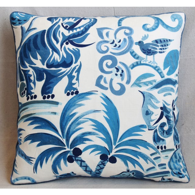 "Reversible custom-tailored pillow in blue and white cotton fabric called ""Wilderness Persian Blue"" from P. Kaufmann..."