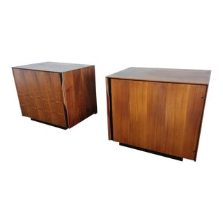John Kapel for Glenn of California Mid-Century Walnut Nightstands - a Pair