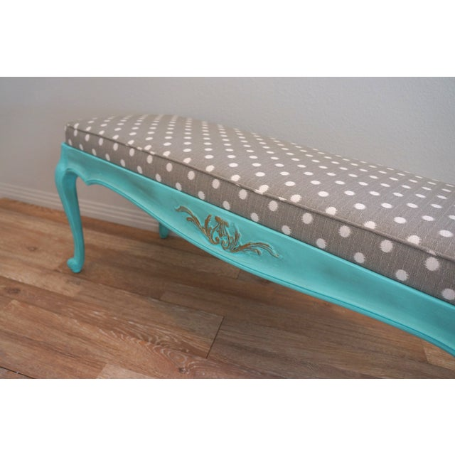 Vintage French-Style Aqua Blue & Grey Dot Bench - Image 6 of 6