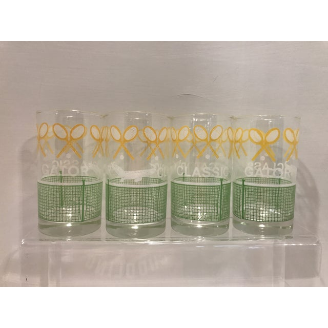 Vintage 1980's Green Yellow and White Alligator Tennis Cocktail Bar Tumbler Glasses - Set of 4 - Image 6 of 7
