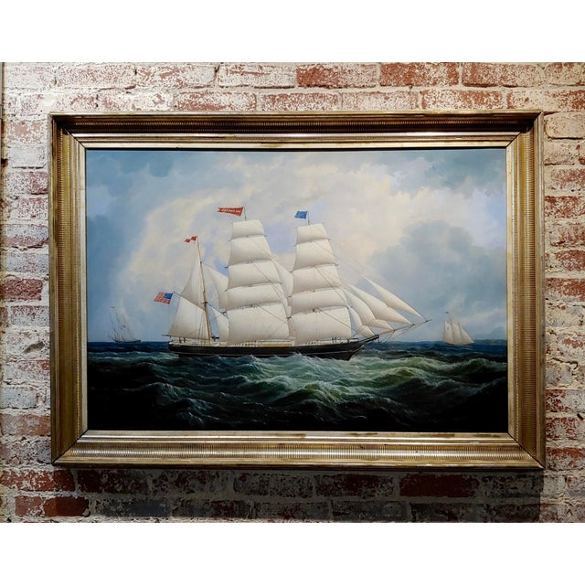 19th Century Portrait of an American Sailing Ship- Oil Painting -C1860s For Sale - Image 12 of 12
