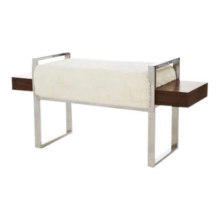 Contemporary Scandinavian New Zealand Shearling Bench For Sale