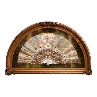 18th Century French Painted Paper and Mother of Pearl Fan in Gilt Glass Frame For Sale