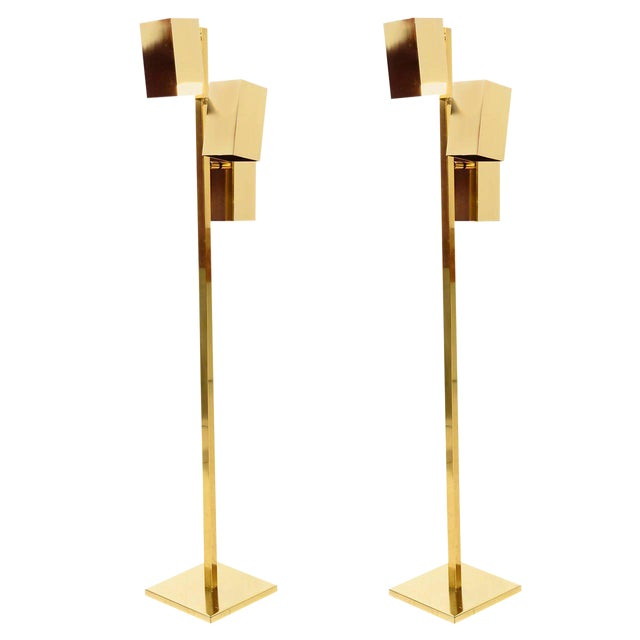 Modern Brass Koch & Lowy Floor Lamps - a Pair For Sale - Image 3 of 7