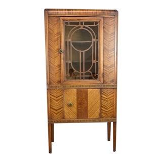 1930's Antique Walnut Art Deco Curio Display Liquor Cabinet For Sale