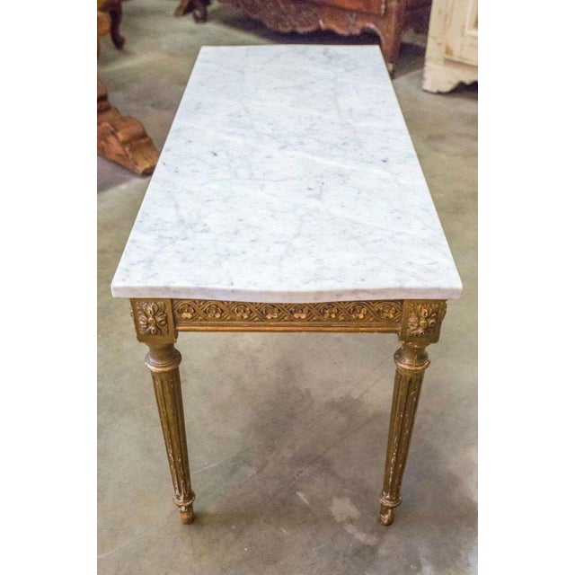 French Louis XVI Style Gilded Coffee Table With Marble Top For Sale - Image 9 of 10
