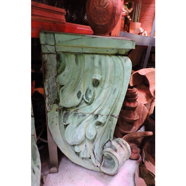 American Classical Pair of 1920s Copper Corner Building Cornices With Acanthus Leaf Detail For Sale - Image 3 of 8