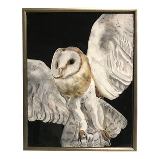 Snowy Owl Framed Drawing For Sale