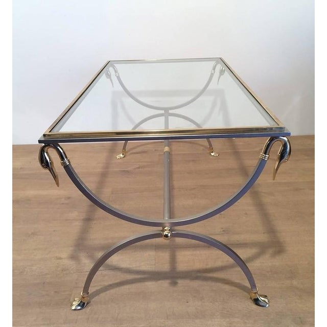 Brass And Brushed Steel Coffee Table With Swan Heads Feet A