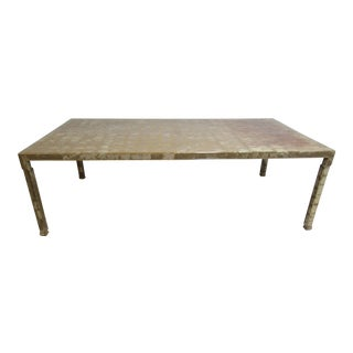 Vintage Chinese Chippendale Silver Leaf Foil Dining Table For Sale
