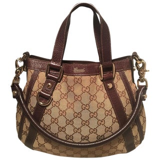 Gucci Monogram Canvas and Brown Leather Small Shoulder Handbag For Sale