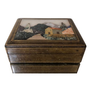 Vintage Italian Leather Pietra Dura Stone Landscape Cigarette Box For Sale