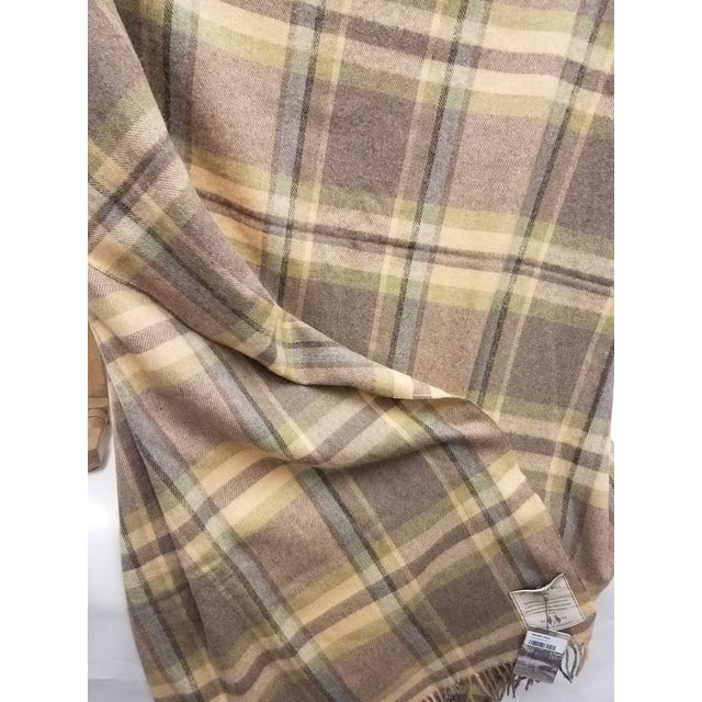 2020s Merino Wool Throw Soft Light Beige Green Blue Purple Plaid - Made in England For Sale - Image 5 of 9