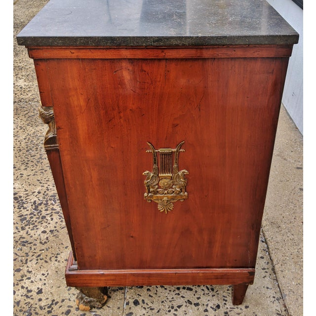 Empire 19th Century French Empire Marble Top Bronze Mounted Commode For Sale - Image 3 of 13
